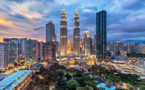 Картинка деревья, пейзаж, город, парк, Малайзия, озёра, Куала Лумпур