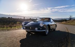 Картинка Дорога, Ferrari, Фары, Classic, Хром, Classic car, Значок, Радиаторная Решетка, Ferrari 400 Superamerica, Passo Corto …