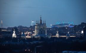 Картинка город, здания, дома, Питер, Санкт-Петербург, сумерки, Смольный собор, купола, Руслан Кондратенко