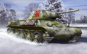 Картинка зима, Арт, Великая отечественная война, T-34-76, образца 1942 года