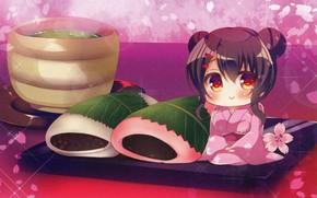 Картинка Япония, сладости, кимоно, лепестки сакуры, зеленый чай, wagashi, вагаси, чибик, Lilia Chocolanne, by Rena Suzunone
