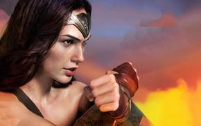 Картинка взгляд, девушка, поза, герой, Wonder Woman, Галь Гадот, Gal Gadot, Чудо женщина