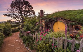 Картинка дерево, забор, вечер, нора, Новая Зеландия, Властелин колец, Хоббитон
