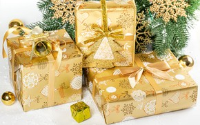 Картинка снежинки, ветки, праздник, игрушки, новый год, подарки, ёлка, ленточки, коробки, боке