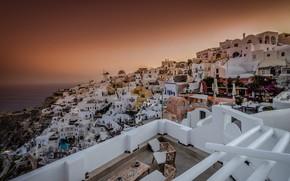 Картинка закат, дома, Греция, панорама, Ойя