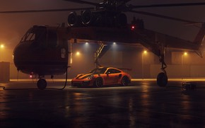 Картинка 911, Porsche, 2018, helicopter, GT2 RS