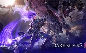 Картинка девушка, монстр, молот, ярость, Fury, Darksiders 3, Darksiders III