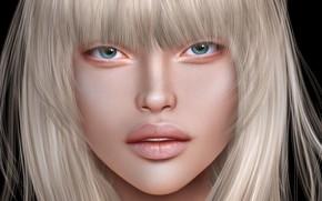 Картинка девушка, лицо, портрет, блондинка