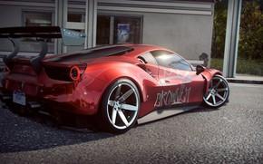 Картинка асфальт, заправка, Ferrari, спойлер, спорткар, автомобиль, красная, 488 GTB, Need for Speed Heat