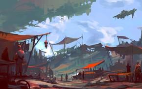 Картинка fantasy, science fiction, Market, spaceship, people, sci-fi, digital art, artwork, fantasy art, tents, painting art