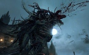 Картинка ночь, луна, кровь, монстр, Bloodborne