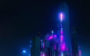 Картинка Город, Неон, Стиль, Здания, City, Fantasy, Архитектура, Небоскрёб, Графика, Art, Style, Фантастика, Neon, Fiction, Небоскреб, …