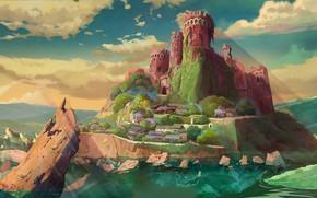 Картинка скала, остров, руины, 近衛曦晨晨