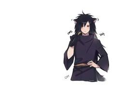 Картинка минимализм, белый фон, парень, Наруто, Naruto, Мадара Учиха