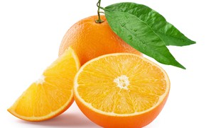 Картинка листья, апельсин, разрез, цитрус, плод
