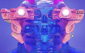Картинка Цвет, Череп, Очки, Стиль, Лицо, Шлем, Маска, Fantasy, Style, Color, Фантастика, Fiction, Illustration, Sci-Fi, Киберпанк, …