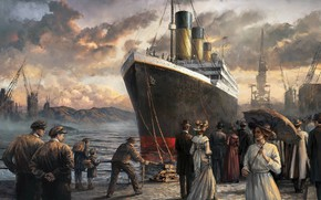 Картинка люди, арт, пароход, живопись, titanic, титаник
