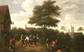 Картинка масло, картина, Давид Тенирс Младший, 1700, Teniers, David II, Крестьянские Танцы