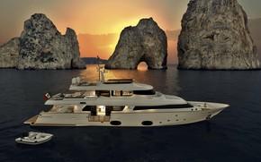 Обои Ship, Boat, Yacht, Ferretti, Sea