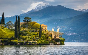 Картинка деревья, озеро, дома, Италия, Комо