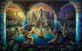 Картинка мистика, фэнтези, колонны, дворец, легенды, эпос, идия, пятый элемент, в кругу, волшебаство