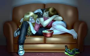 Обои девушка, диван, парень, спят