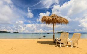 Картинка песок, море, пляж, лето, небо, солнце, пальмы, берег, зонт, summer, beach, sea, umbrella, seascape, beautiful, …