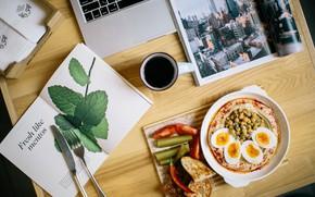 Картинка кофе, яйца, завтрак, книга, ноутбук, салат