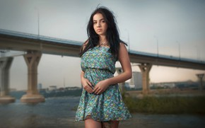 Обои девушка, мост, платье, брюнетка, тату, Ангелина, Alexander Drobkov-Light