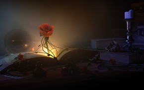 Картинка ночь, магия, свеча, фэнтези, арт, книга, Night in the Library, Kevin Baker
