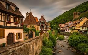 Картинка пейзаж, город, река, Kaysersberg