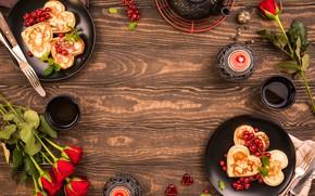 Картинка чай, розы, завтрак, блины, композиция, Iryna Melnyk