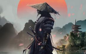 Картинка art, samurai, castle, artwork, warrior, Xavier Cuenca