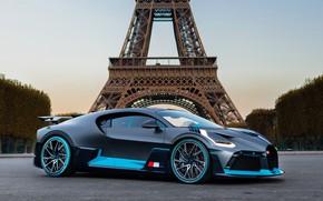 Картинка Париж, Bugatti, Эйфелева башня, суперкар, 2018, гиперкар, Divo