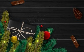 Картинка фото, Ветки, Шарики, Новый год, Шишки, Подарки, Корица, Векторная графика