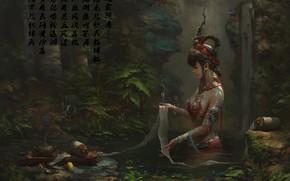 Картинка украшения, ручей, водопад, ритуал, прическа, иероглифы, жрица, art, сказочный лес, свиток, обряд, Zhao Huanhua