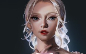 Картинка бабочка, рука, голубые глаза, серый фон, белые волосы, портрет девушки, by June Cheung