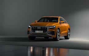 Картинка машина, фон, Audi, рыжая, золотая