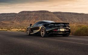 Картинка дорога, горы, чёрный, спорткар, вид сзади, McLaren 720S