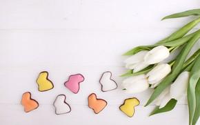 Картинка праздник, пасха, тюльпаны, пряники