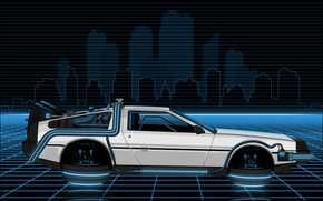 Картинка Авто, Рисунок, Музыка, Машина, Стиль, Фон, Car, DeLorean DMC-12, Art, 80s, Style, DeLorean, DMC-12, Neon, …