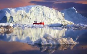 Картинка boat, arctic, icebergs, greenland
