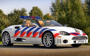 Картинка 2006, кабриолет, convertible, Spyder, Spyker, экстерьер, exterior, полицейский автомобиль, police car, Spyker Cars N.V., Spyker …