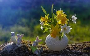 Картинка цветы, Пасха, ваза, фигурки, зайчики