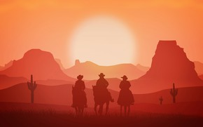 Картинка солнце, закат, горы, силуэт, ковбои