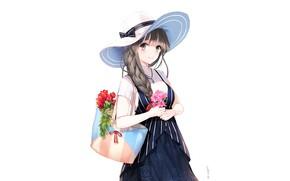 Картинка девушка, шляпа, сумка