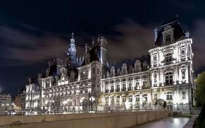 Картинка ночь, город, Франция, Париж, фонари