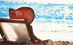 Картинка море, пляж, лето, девушка, шляпка