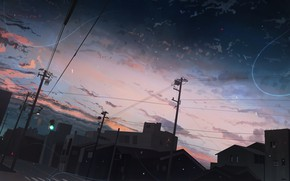 Картинка город, дороги, светофор, сумерки