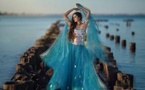 Картинка взгляд, вода, девушка, река, платье, боке, Ragan Sylwia